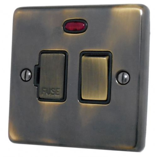 G&H CAN327 Standard Plate Polished Aged Brass 1 Gang Fused Spur 13A Switched & Neon